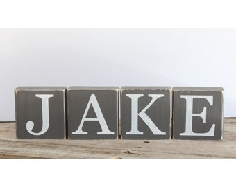 Rustic Wooden Letter Blocks. Name Decor for Nursery Shelf. Distressed Photo Props Baby Boy. Custom Letters. Personalized Wood Blocks.