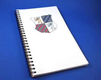 """Coat of Arms """"Knightly Notes"""" Handmade Lined Journal - Wirebound"""