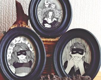 Original Framed Drawing //Original Drawing //  Halloween children Art // Creepy custom Kids Portraits// Fun Gift Idea