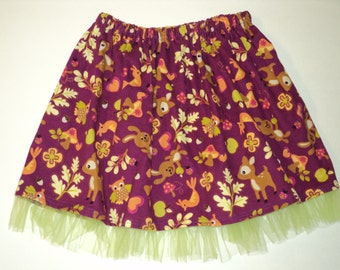 Woodland Corduroy Skirt, Toddler Girls Skirt, Size 18-24 Months Ready To Ship, Fall And Winter Skirt, Deer, Owl, Baby Gift, Handmade  Skirt