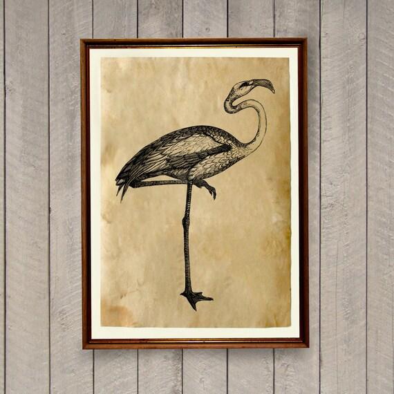 Flamingo Poster Retro Home Decor Bird Print Ak916 By Artkurka