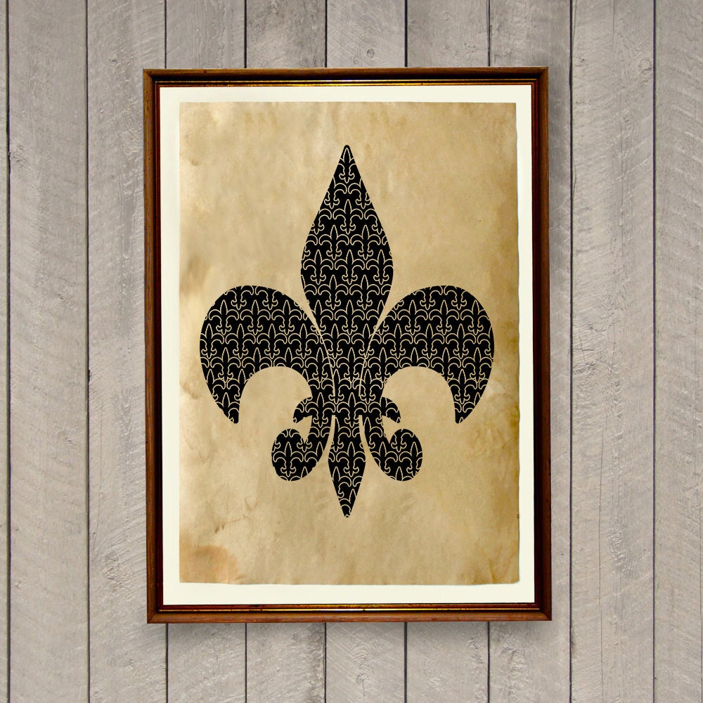 Fleur de lis poster french print victorian home decor ak505 for Fleur de lis home decorations