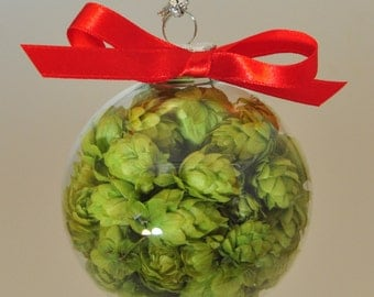 Holiday Hops Ball, Beer Gift Hops Gift Glass Hops Ball, Beer Gift,Home Brewer Gift, Beer Ornament, Hops Ornament, Christmas Beer decoration,