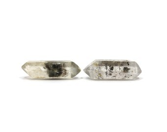 Tibetan Quartz 2 Raw Crystals Double Terminated 28mm and 30mm Natural Rough Stones for Wire Wrapping & Jewelry Making (Lot 9018)