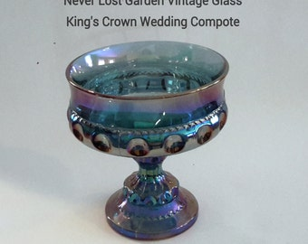Indiana Glass King's Crown Blue Iridescent Compote