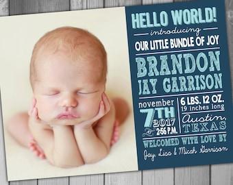 Birthday Announcement Baby Boy Announcement Printable Birth Chalkboard Birth Announcement Subway Art Photo Birth Announcement