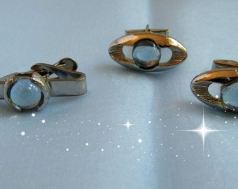 Mens Tie Bar Cuff Link Set Oval Silver Tone Blue Glass Stone Vintage