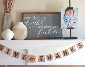 Thanksgiving Banner - Give Thanks Banner - Thanksgiving Decor - Thanksgiving Burlap Banner - Give Thanks Bunting - Happy Thanksgiving
