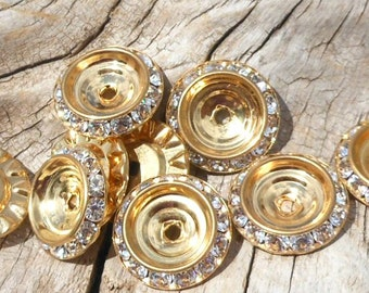 Brass Button Backs with Clear Crystals, Pendant Backs, Formal Fancy, Shiny Glistening, Sparkly Crystals, Craft Supplies