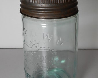 Crown Pint Jar, Canadian Fruit Jar, Canning Jar, Vintage Canning Jar, Imperial Crown