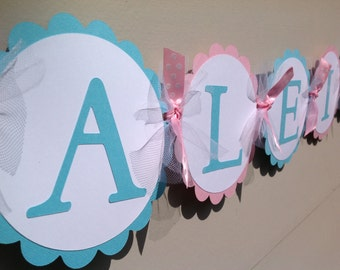 Pink and Light Aqua Name Banner Winter Onederland Wonderland First Birthday