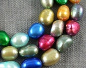 Large Hole Freshwater Pearl Baroque pearl Potato Mixed Color Loose Pearl 7.5-8.5mm 36 Pcs Good Quality Full Strand Item No : PL3054
