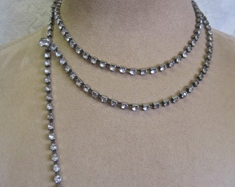 "Rhinestone Belt Vintage 60s Mid Century 36"" LONG Hooks Large Rhinestone Ends Shabby Chic Clear and Grey May be Necklace Choker"