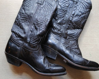Vintage Durango Black Leather Cowboy Boots / Southwestern Native American Navajo Stitched Design /  Size 8.5 Womens Size 7 Mens