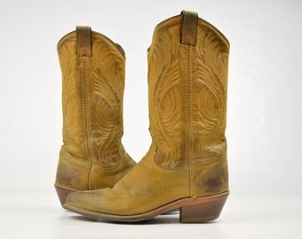 Vintage Western Boots Brown Leather Western Cowboy Riding Boots, Womens 6.5