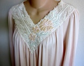 Nightgown Shadowline brushed  nylon free bust lace bodice sexy lingerie  S small