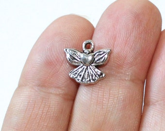 10 Angel Charms Antique Silver Tone - CH537