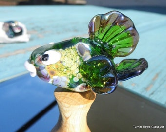 Lampwork Exotic Fish Bead - Hand Made Glass Fish, Glass Fish Focal Bead SRAJD FHFTeam