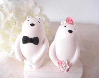 Love Custom Wedding Cake Toppers - Polar Bear with base