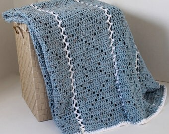 Afghan - Handmade Crochet Blanket - Blue Speckle with White Accent