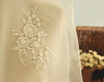 ivory beaded bridal lace applique, alencon rhinestone applique for bridal dress,silver alencon lace applique