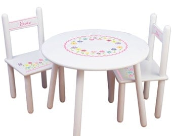 Custom Table & Chairs - Personalized Childrens Furniture White Table Chair Set, Girls Playroom, Garden Bedroom,  Craft, Nursery TABLESET-301