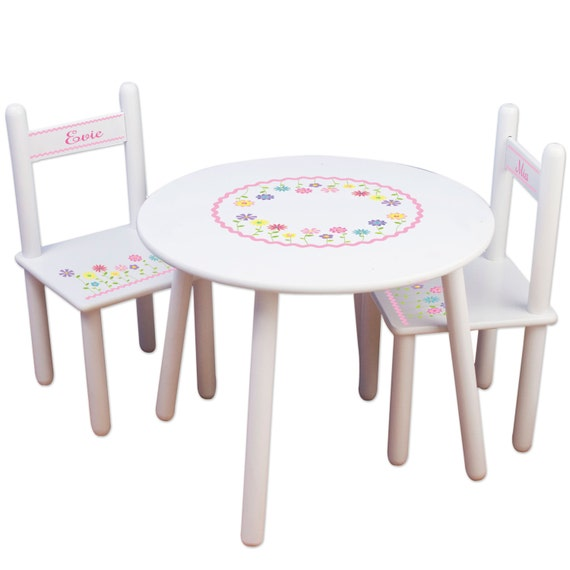 Custom Table amp Chairs Personalized Childrens Furniture White