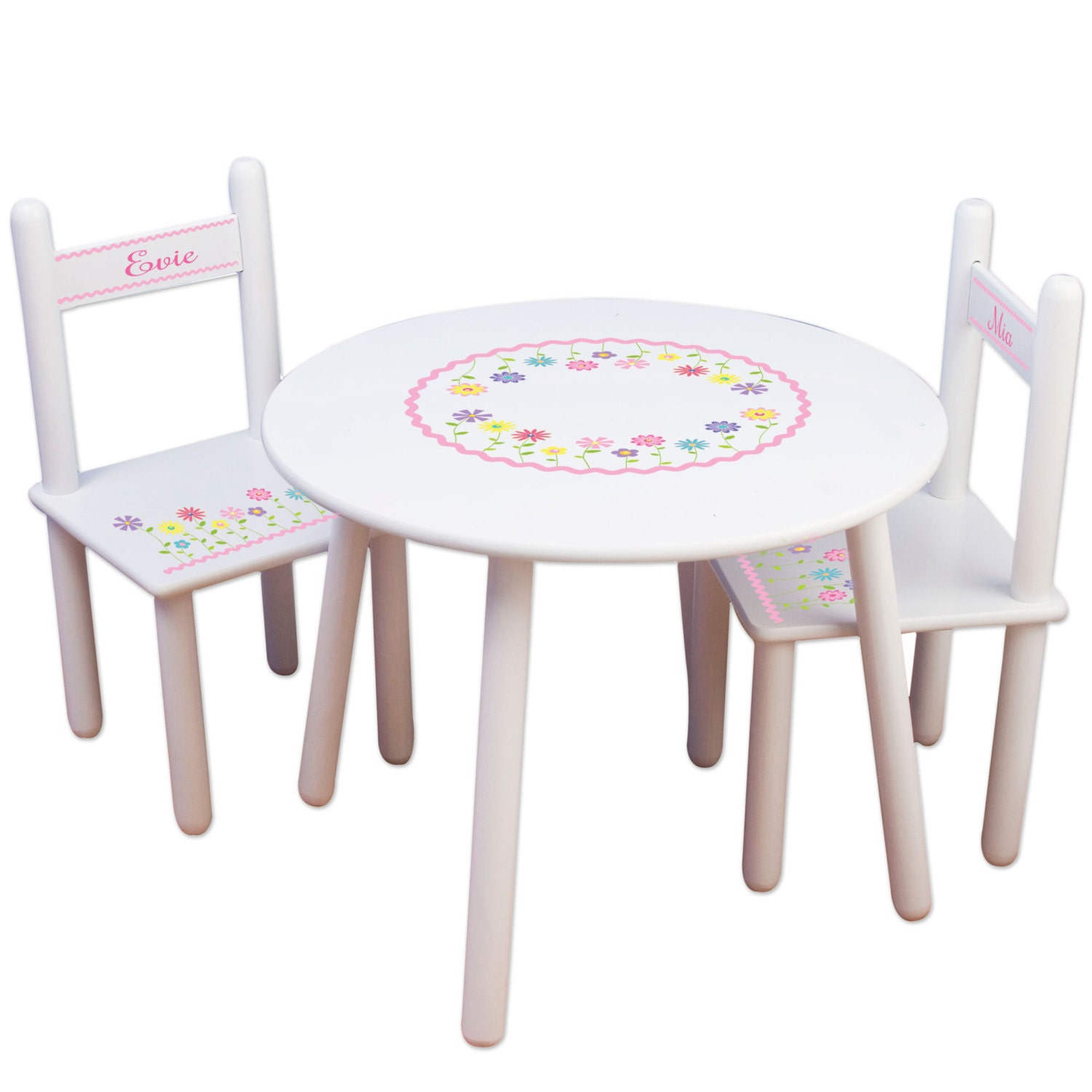 Custom table chairs personalized childrens furniture white for Monogrammed kids chair