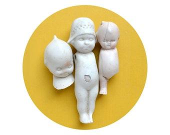 3 vintage antique doll heads and bodies, doll parts, dug up, frozen charlotte, kewpie doll, googly, porcelain head, from Elizabeth Rosen