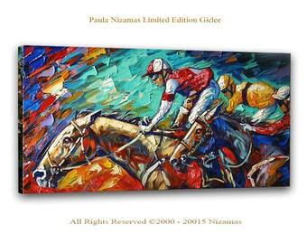 Horse Racing - Large Abstract Art Giclee on canvas Home Wall Decor Paula Nizamas Ready to hang