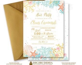 BEACH HEN PARTY Invitation Watercolor Ocean Coral Gold Foil Look Bohemian Wedding Bridal Invite Free Shipping or DiY Printable- Elena