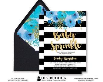 BABY SPRINKLE INVITATION Black & White Stripe Blue Boho Flower Gold Glitter Watercolor Free Priority Shipping or DiY Printable- Mady
