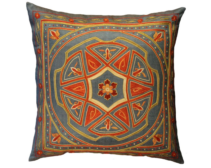 Handmade Suzani Silk Pillow Cover EMP723, Suzani Pillow, Uzbek Suzani, Suzani Throw, Suzani, Decorative pillows, Accent pillows