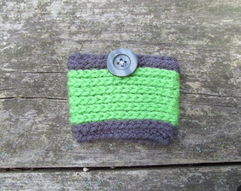 Gray and Green Reusable Coffee Cozy