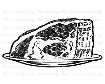Roast Beef Vintage Food Clip Art Digital Graphic Printable Transfer Image jpg png