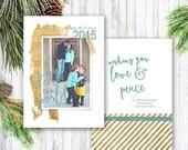 Christmas Card Template - Photoshop Template - Family Christmas Holiday Card - Splash of Gold Christmas Card for Photographers, C74