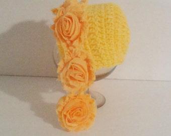 Sale. Clearance.Newborn bonnet. Newborn girl bonnet. Yellow bonnet. Autumn bonnet. Photography prop.