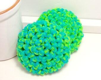 Crochet Scrubby - Dish Scrubby - Eco Friendly Dish Scrubbies - Neon Green & Turquoise Scrubbies - Set of 2