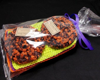 Halloween Gift Set, Cotton Dishcloth, Handmade Scrubby, Gift Wrapped, Crochet Dishcloths, Gifts Under 20