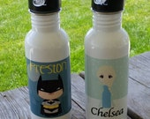 SALE PRICE!!  (BATMAN included). Personalized Back to school stainless water bottles. Many character choices!