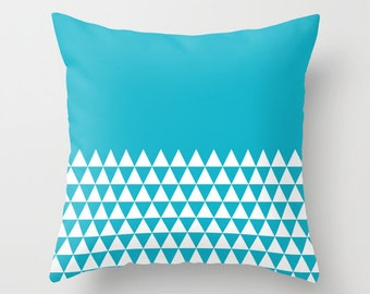 36 colours, Geometric Triangles Half Print Pattern Pillow, Scuba Blue Geometric Pillow, Faux Down Insert, Indoor or Outdoor pillow cover