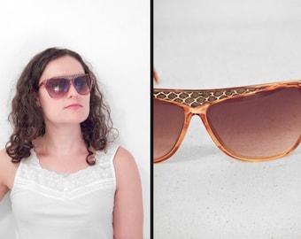 Pan OCEANIC Sunglasses Tortoise 1980s Oversize Kanye Look Painted Snake Trim