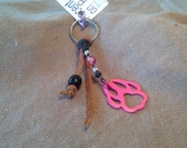 Metal Pink Paw and Leather Keychain
