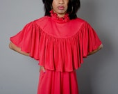 Vintage 1970s Red Disco Gown With Renaissance Shaw Small Medium