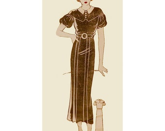 1930s Style Drop Shoulder Balloon Sleeve Slim Skirt Dress Custom Made in Your Size From a Vintage Pattern
