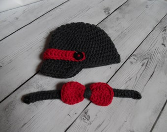 Newsboy Hat and Bow tie set, Baby newsboy hat, Crochet newsbor hat with bow tie - Made to Order