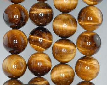 18mm Cognac Tiger Eye Gemstone Grade AA Round Loose Beads 7.5 inch Half Strand (90186164-736)