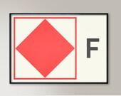 International Signals Code, Letter F, Nautical Style, Naval Signal, Nautical Art, Nautical Sign, Navy Sign, Naval Flag, Maritime Flag, Decor