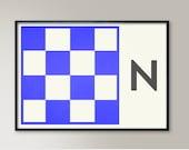 Naval Letter Print, Alphabet N, Naval Flags, Naval Signal, Nautical Art, Nautical Sign, Navy Sign, Maritime Codes, Maritime Flag, Home Art