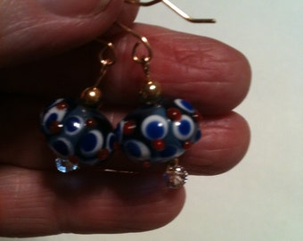 NEW Red White Blue Lampwork Bumpy Bead and 14 KT Gold Filled Patriotic Earrings on ETSY at DesignsByDebbieKay